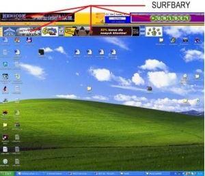 Reklamy zobrazující se na liště neznámého softwaru, který si nainstalujete na počítač.