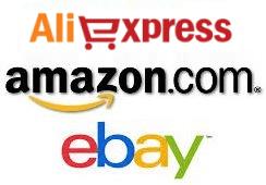 Loga prodejních portálů Amazon, Ebay a Aliexpress.