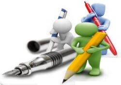 Obrázek symbolizující copywritery držící pera a tužky.