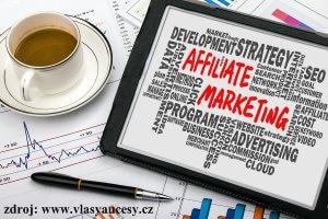 Ilustrační obrázek, na kterém je nápis - affiliate marketing.