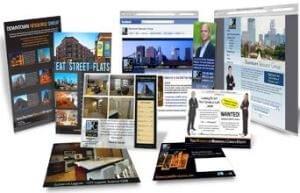 Ilustrační obrázek některých info-produktů jako je např. e-book, online webinář, video kurz.