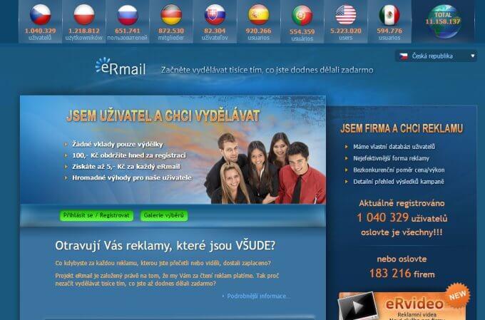 Úvodní stránka klikacího systému Ermail.cz, která láká na 100 Kč vstupní bonus.