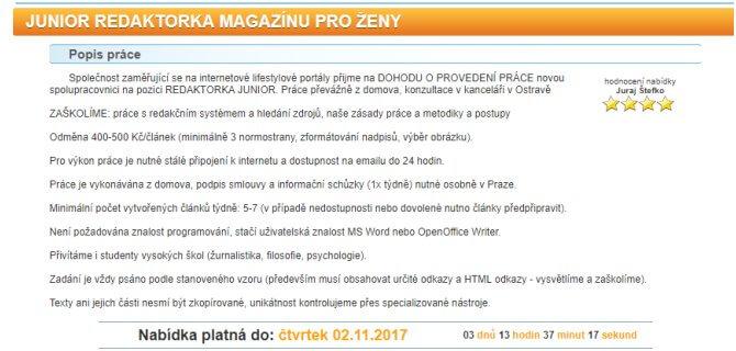 Inzerát od Juraje Štefku na stejnou pracovní pozici, a tedy junior redaktorka magazínu pro ženy.