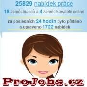 Úvodní stránka portálu www.projobs.cz zobrazující počet pracovních nabídek, zaměstnavatelů a zaměstnanců online.