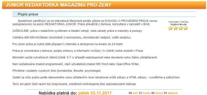 Inzerát od Vojtěcha Nováka na pracovní pozici junior redaktorka magazínu.