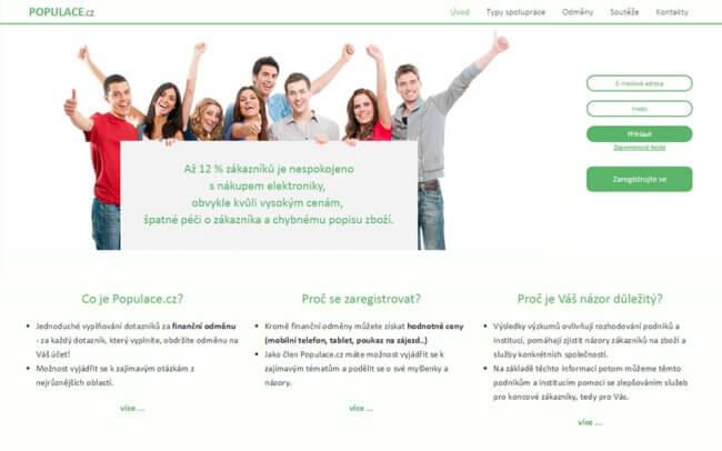 Úvodní stránka dotazníkové společnosti Populace.