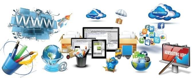 Ilustrační obrázek, co vše zahrnuje web design.