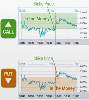 Grafické znázornění pojmů jako strike cena, in the money, out of the money, doba expirace, call, put a jiné.