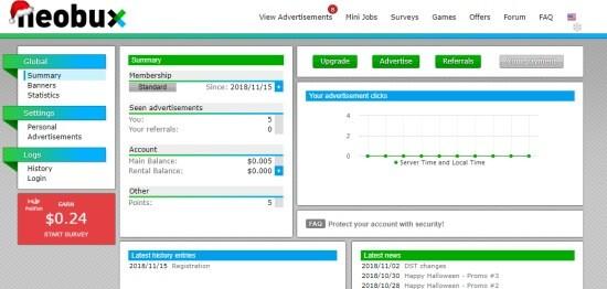 Obrázek úvodní stránky Neobuxu a jednotlivé kategorie - Games, Mini Jobs, Surveys.