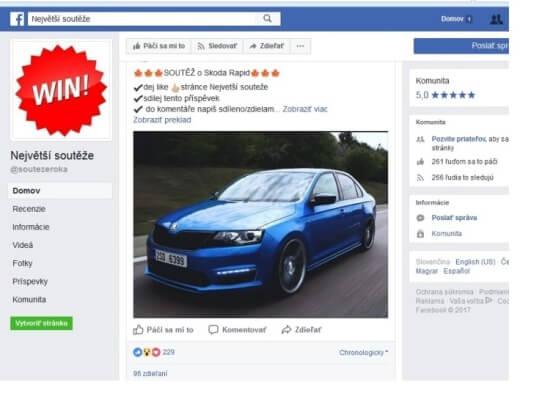 Podvodníci nabízejí v soutěži na Facebooku drahé auto.