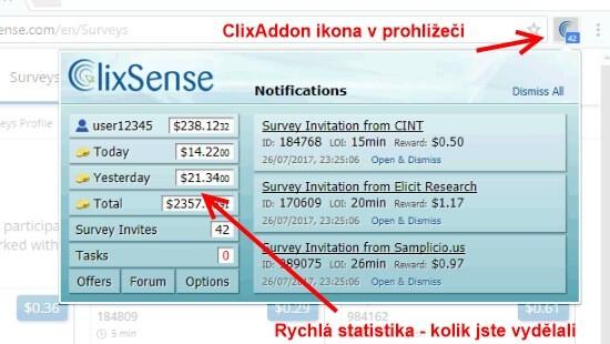 ClixAddon toolbar je užitečná pomůcka, díky které si můžete ověřit stav svého konta.