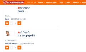 Online stránka scamadviser hlásí, že tento online projekt je scam a nevyplácí.