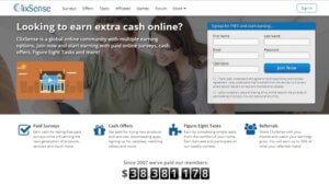 Úvodní stránka společnosti clixsense.com.
