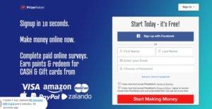 Úvodní stránka společnosti Prizerebel.com, která slibuje jednoduché online vydělávání.