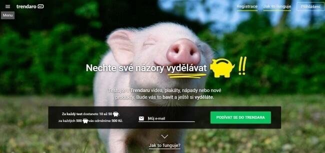 Úvodní stránka společnosti Trendaro.cz, na níž je prasátko, symbol spoření.
