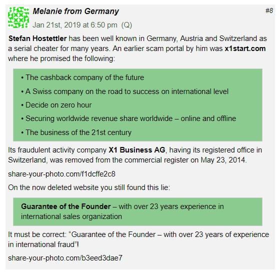 Komentář na BehindMLM stránce, ve kterém Melanie z Německa píše, že Stefan Hostettler je MLM podvodník.