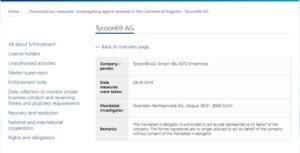 Vyšetřování projektu Tycoon69 švýcarským dohledem nad finančním trhem FINMA.