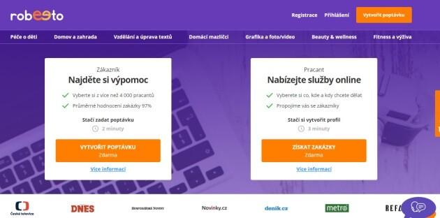 Tržiště služeb Robeeto.com je určeno nejen firmám, ale také zájemcům o přivýdělek.