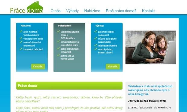 Úvodní obrázek webové stránky pracedoma.cz, kterou vlastní Jan Holub.