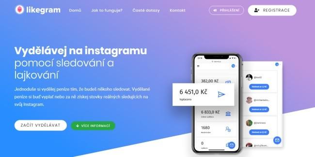 Úvodní stránka Likegramu na níž je napsáno - vydělávej na Instagramu pomocí sledování a lajkování.