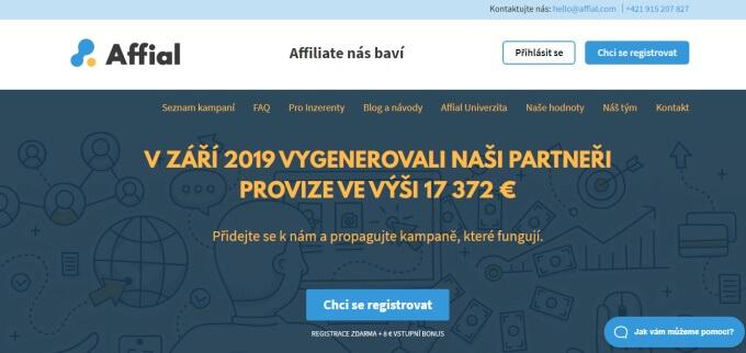 Úvodní stránka sítě Affial.com.