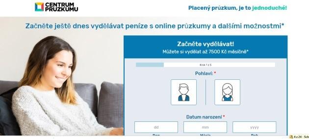 Stránka centrumpruzkumu.cz láká na 7500 Kč výdělek.