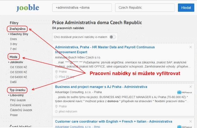Filtrování mzdy, úvazku, lokality v Jooble a Indeed.com vyhledávačích.