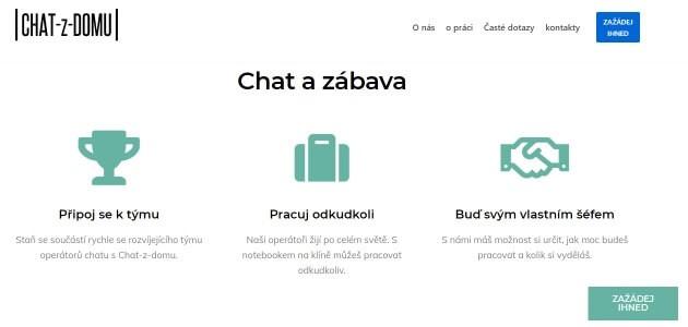 Stránka nabízí možnost vydělávání peněz live chatováním.