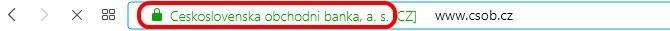 Jak by měl vypadat adresní řádek prohlížeče, když se přihlašujete k Internet Bankingu ČSOB.
