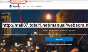 Falešná stránka s nešifrovaným HTTP protokolem.