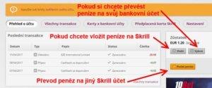 Názorná ukázka, jak vybrat peníze ze Skrill a poslat je na bankovní účet.