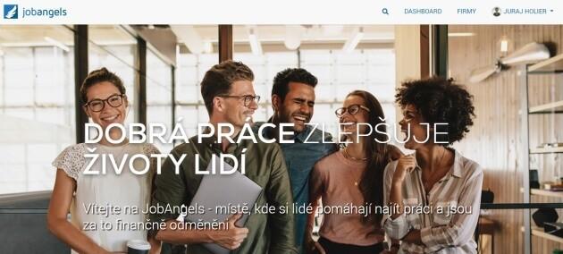 Úvodní stránka pracovního portálu JobAngels.