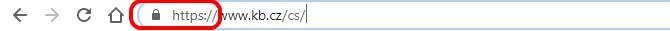 Jak by měl vypadat adresní řádek prohlížeče, když se přihlašujete k Internet Bankingu Komerční banky.