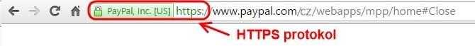 Jak by měla vypadat URL adresa, když se přihlašujete na PayPal.