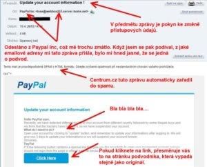 Jak vypadá Phishing e-mail v praxi. Fotka zprávy, v níž mě podvodníci vybízejí ke změně přihlašovacích údajů.