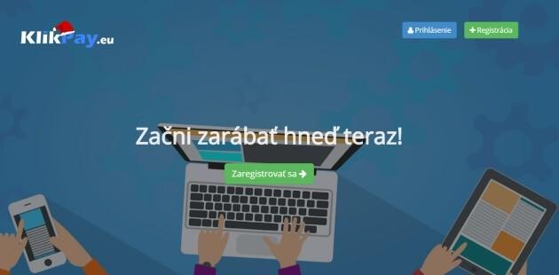 Úvodní stránka klikacího portálu Klikpay.
