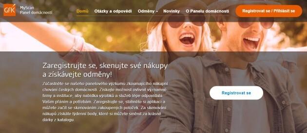 Úvodní stránka firmy GfK Myscan panel domácností.