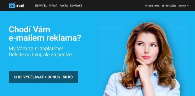 Úvodní stránka klikacího systému Zumail.