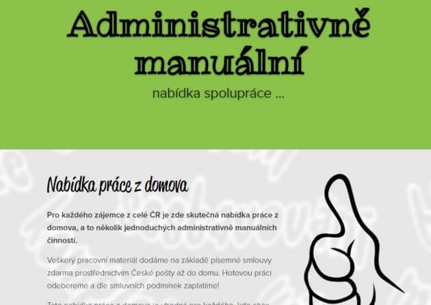 Úvodní stránka webu nabidka-prace.webnode.cz, který nabízí administrativně manuální práce z domu.