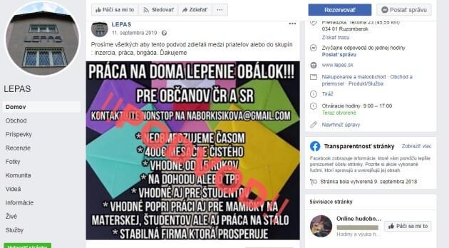 Lepas s.r.o. upozorňuje na své FB stránce, že jde o podvod.