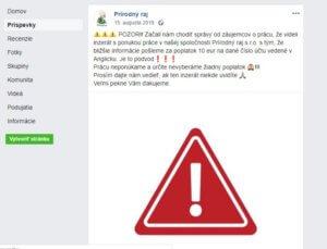 Upozornění od společnosti Přírodní ráj s.r.o. na své facebookové stránce.