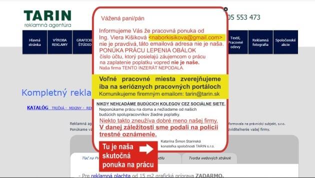 Reklamní agentura Tarin s.r.o na své stránce tarin.sk upozorňuje na podvod.