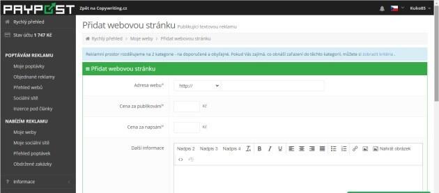 Na stránku paypost.cz můžete vložit svou webovou stránku, magazín či FB skupinu a vydělávat na reklamě.