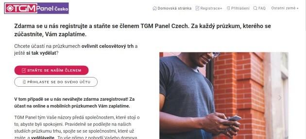 Úvodní stránka TGM Panel Česko, kde se můžete zaregistrovat.