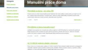 Seznam inzerátů nacházejících se v kategorii manuální práce doma