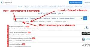Jak vyhledávat nabídky práce na home office na stránce Startupjobs.cz.