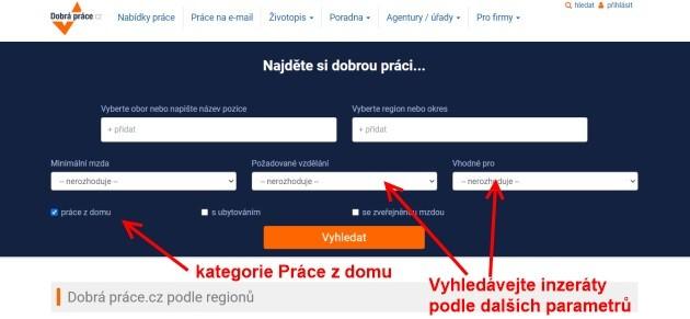 Portál Dobraprace.cz má i vlastní kategorii - práce z domu.