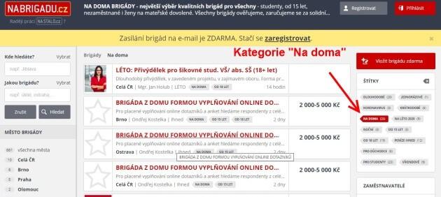 """Na stránce Nabrigadu.cz najdete kategorii """"na doma""""."""
