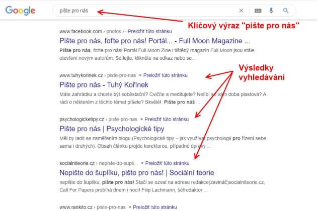 """Do Google vyhledávače napište klíčové slovo, například """"pište pro nás""""."""