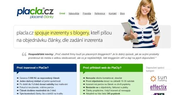 Psaní článků a prodej reklamy na stránce Placla.cz.